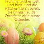 Frühling wird es weit und breit, und die Häschen steh'n bereit. Sie bringen zu der Osterfeier viele bunte Ostereier.