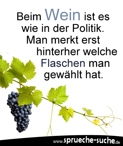 Beim Wein ist es wie in der Politik. Man merkt erst hinterher welche Flaschen man gewählt hat.