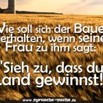 """Wie soll sich der Bauer verhalten, wenn seine Frau zu ihm sagt: """"Sieh zu, dass du Land gewinnst!"""""""