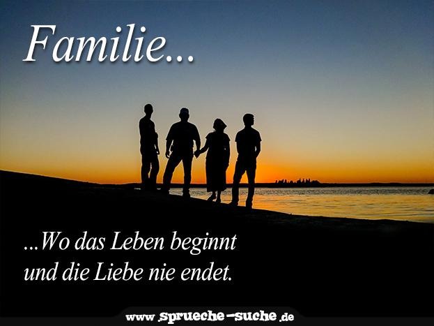 sprüche familie - wo das leben beginnt und die liebe nie endet.