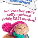 WARM anziehen! Am Wochenende soll's nochmal richtig kalt werden!