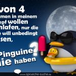 3 von 4 Stimmen in meinem Kopf wollen schlafen, nur die eine will unbedingt wissen, ob Pinguine Knie haben?
