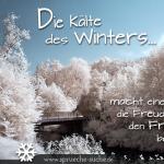 Die Kälte des Winters macht einem erst die Freude über den Frühling bewusst.
