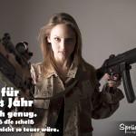 Spruch mit bewaffneter Frau - Vorsätze für das neue Jahr