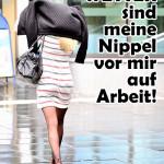 Schlechtes Wetter Spruch - Frau im kurzen Rock geht im Rege zur Arbeit