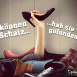 Spruch mit Frau, welche ihren Schuh im Berg gefunden hat