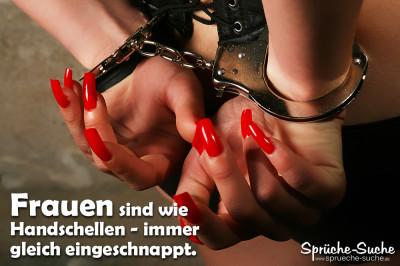Spruchbild - Frauenhände, gefesselt mit Handschellen