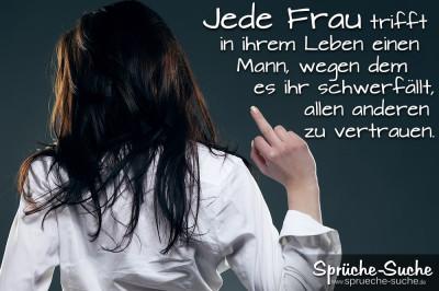 Spruch über Vertrauen - Frau zeigt Mann den Mittelfinger weil sie schon mal betrogen wurde