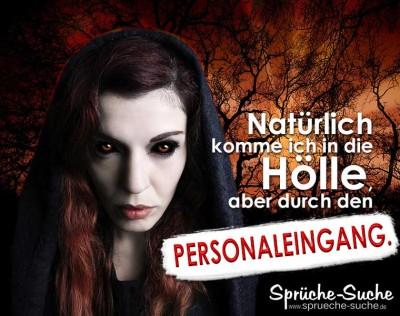 Spruchbild mit Vampirfrau vor Eingang zum Tor zur Hölle