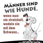 Spruchbild über Männer mit Hund