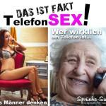 Bild mit erotischer Frau und alter Oma am Telefon