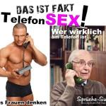 Junger Mann, alter Mann am Telefon - Lustiges Spruchbild