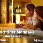 Spruchbild: Mann verbringt mit seiner Frau einen romantischen Abennd vorm Kamin