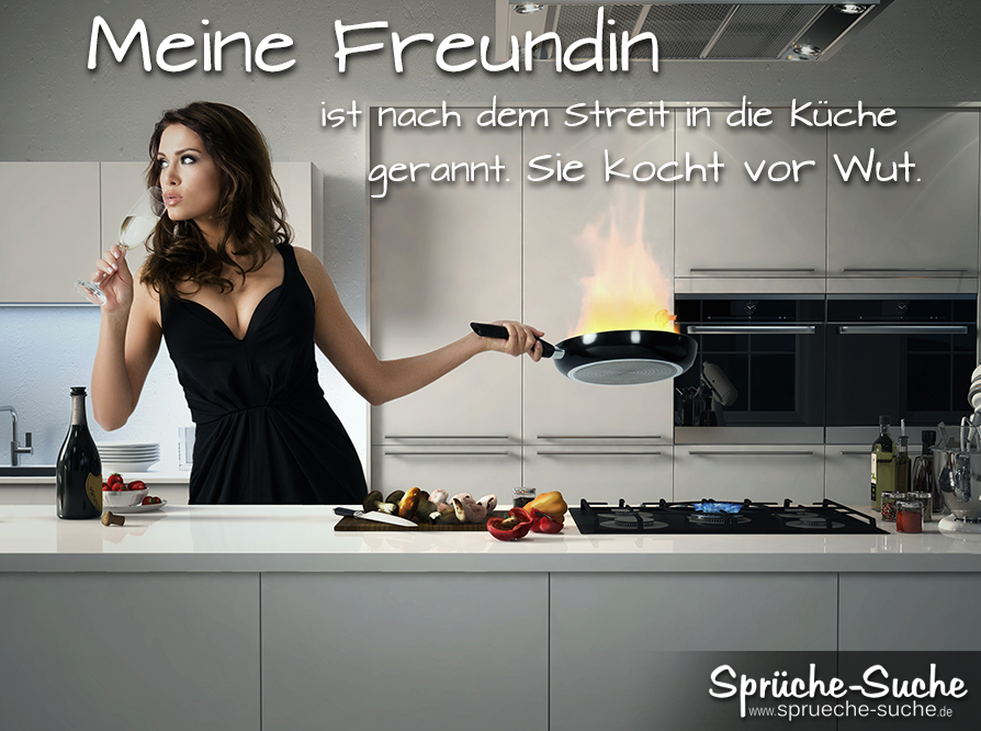 Spruchbild - Frau steht in Küche und kocht vor Wut