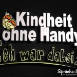 ironisches Spruchbild mit Schmetterling über Handys