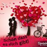 Spruchbild mit Baum aus vielen Herzen und einem Liebespaar