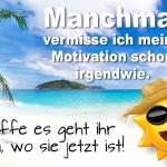 Spruchbild mit Traumstrand über Motivation