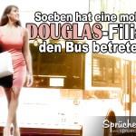 Spruchbild mit Frau und Bus