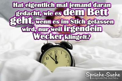 Spruchbild mit Frau im Bett + Wecker