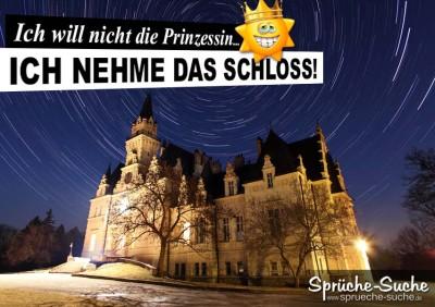 Spruchbild mit Schloss bei Nacht