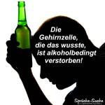 Silhouette vom Kopf eines Mannes mit einer grünen Flasche Alkohol in der Hand