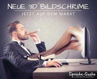 Arroganter Mann mit Zigarre am Schreibtisch. Aus dem Bildschirm kommen die beine einer schlanken Frau
