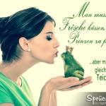 Prinzessin küsst grünen Frosch mit Krone