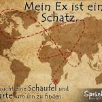 Alte Weltkarte mit gestricheltem Weg zum Ex-Mann als Spruchbild