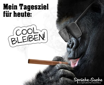 Spruchbild mit Affe, der Zigarre raucht und eine Sonnenbrille trägt