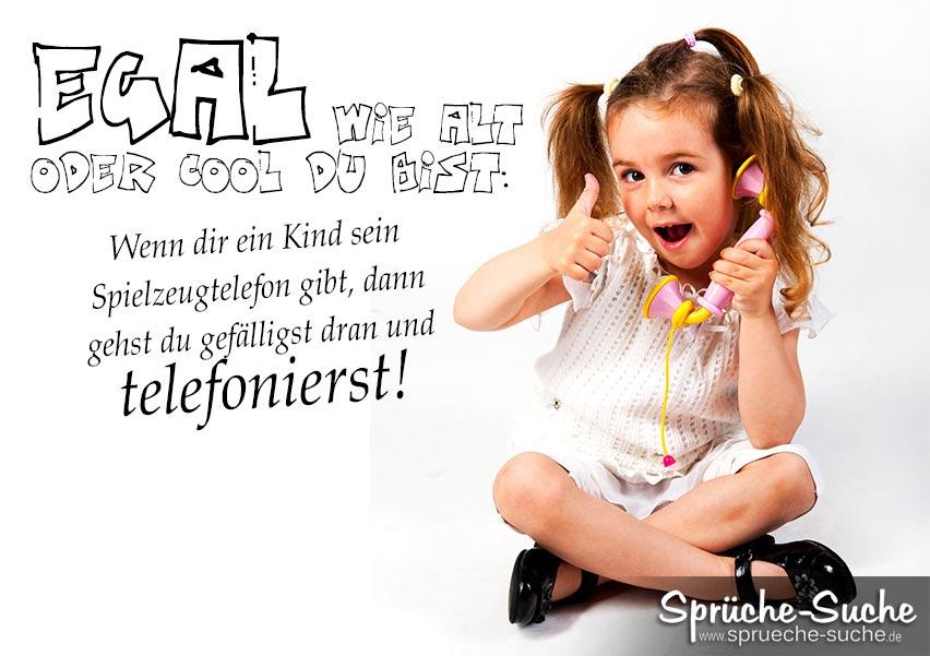 Lustiger Spruch über Kinder und Spielzeugtelefone ...