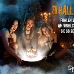 Drei Hexen an Feuerstelle im Wald - Mystisches Bild