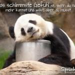 Erschöpfter Pandabär als nachdenkliches Spruchbild