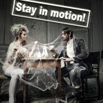 Eingewebtes Ehepaar - Wer rastet, der rostet Spruch