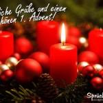 Adventskranz mit einer Kerze zum 1. Advent