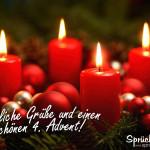 Adventskranz mit einer Kerze zum 4. Advent