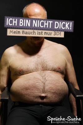 Dick Sprüche - Mann mit dickem behaarten Bauch