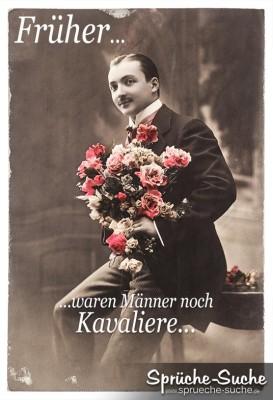 Spruchbild über Männer Antiques Bild Mann mit Rosenstrauß