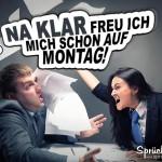 Chefin schmeisst Kollegen auf Arbeit wütend Papier ins Gesicht