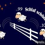 Schlaf schön Spruchbild mit Schafen die über einen Zaun springen
