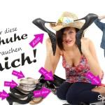Frau im Schuhe-Kaufrausch als Spruchbild