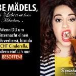 Betrunkene Frau beißt auf Flaschenhals | Lustiges Spruchbild über Mädels