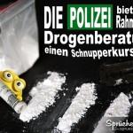 Drogen auf Tisch als lustiges Spruchbild über die Polizei