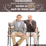 Spruchbild über Freundschaften mit kurzer Statistik - Alte Männer auf Parkbank