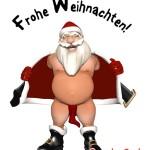 halbnackter Weihnachtsmann aus lustige Weihnachtskarte