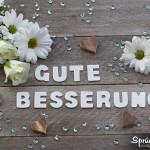 Gute Besserung Sprüche mit Blumenblüten und Holzherzen auf Holzbrett