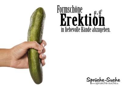 Lustiges Spruchbild über Erektionen - Hand mit Gurke
