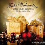 Schöne Weihnachtskarte mit Geschenken und Sprüche zu Weihnachten