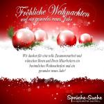 Weihnachtskarten Sprüche Geschäftlich rot weiß mit Weihnachtskugeln
