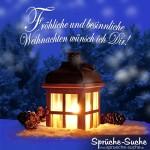 Laterne mit Kerze im Schnee als weihnachtliches Spruchbild