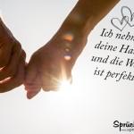 Hand in Hand verliebt Spruchbild
